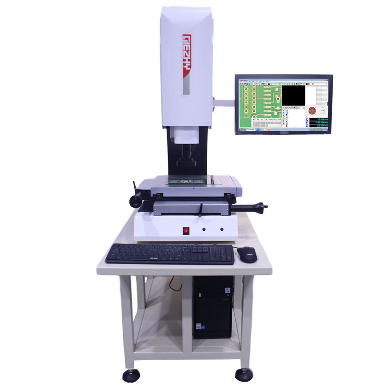 Electric 2D length measuring system for plastic parts