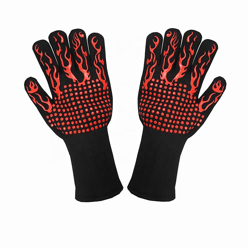 Hot selling double layer aramid seamless knit 932 F heat resistant bbq grill kitchen cooking oven gloves