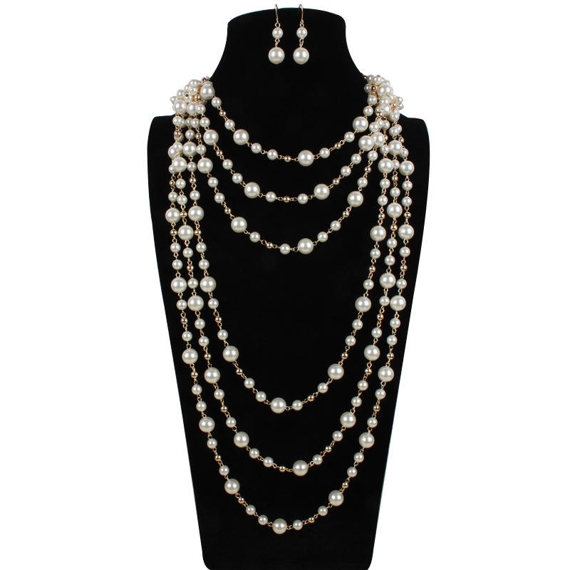 Custom design bridal jewelry sets customize pearls jewelry set Pearls long necklace earrings set T6320