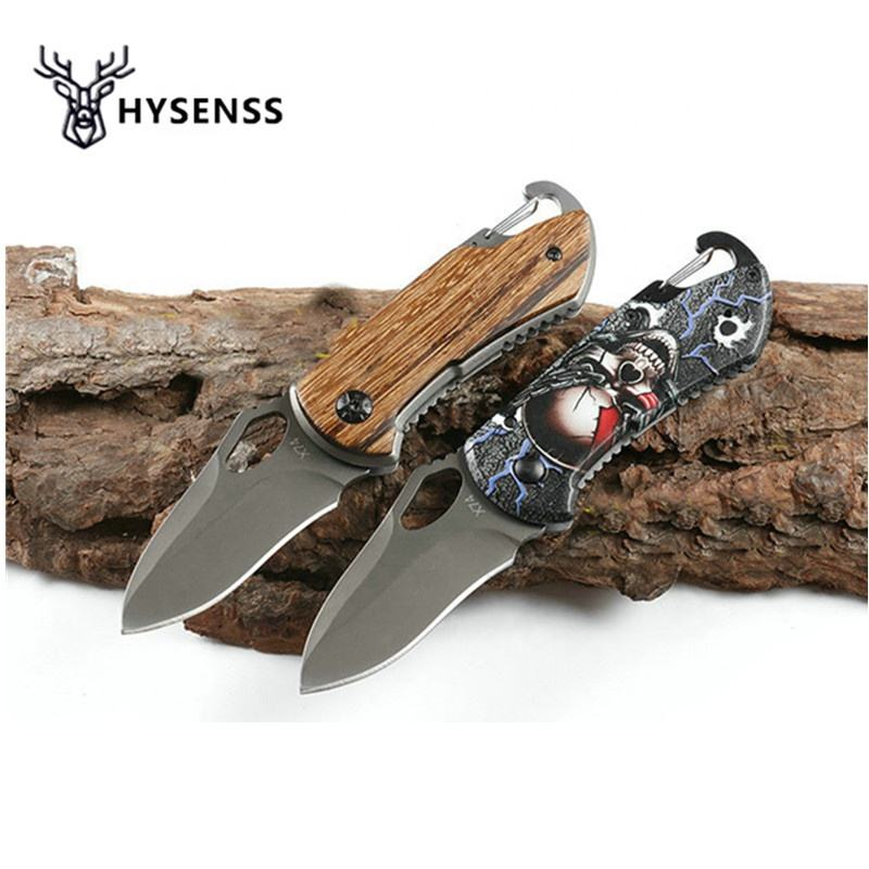 Hysenss X47 Titanium Tactical Folding Knife Wood Handle Outdoor Camping Hunting Survival Rescue Pocket Knives Keychain Knifes