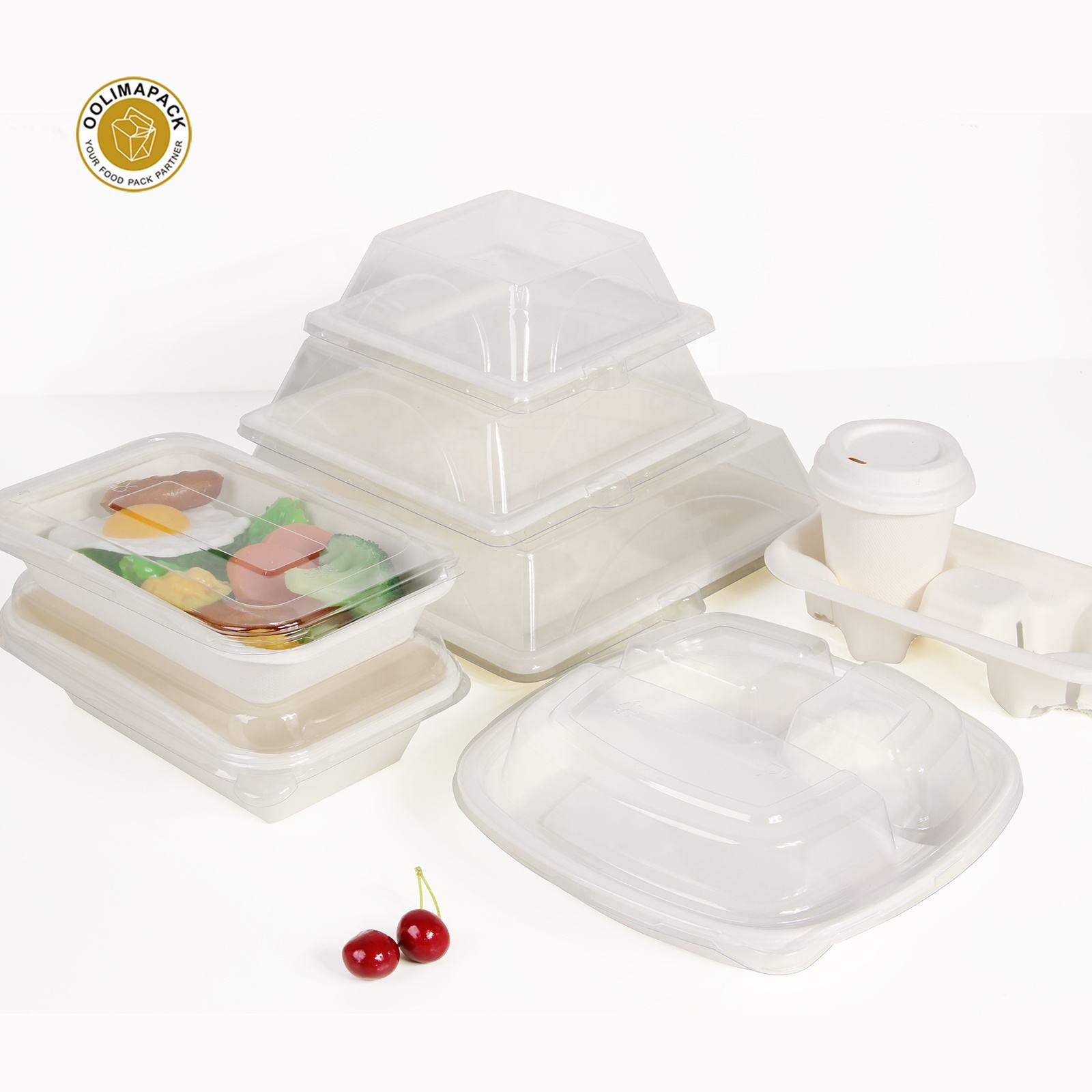 New Product Disposable Tableware Biodegradable Bagasse Food Container Plate With Pet Lid