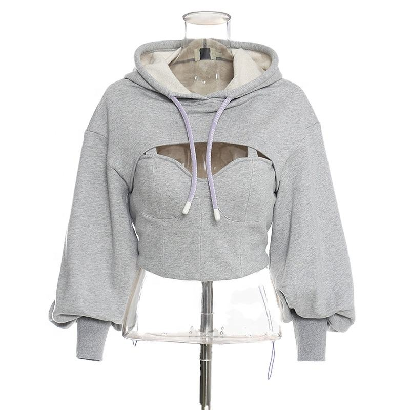 CHICEVER Hooded Collar Long Sleeve Hollow Out Casual Short Sweatshirt For Women Sexy