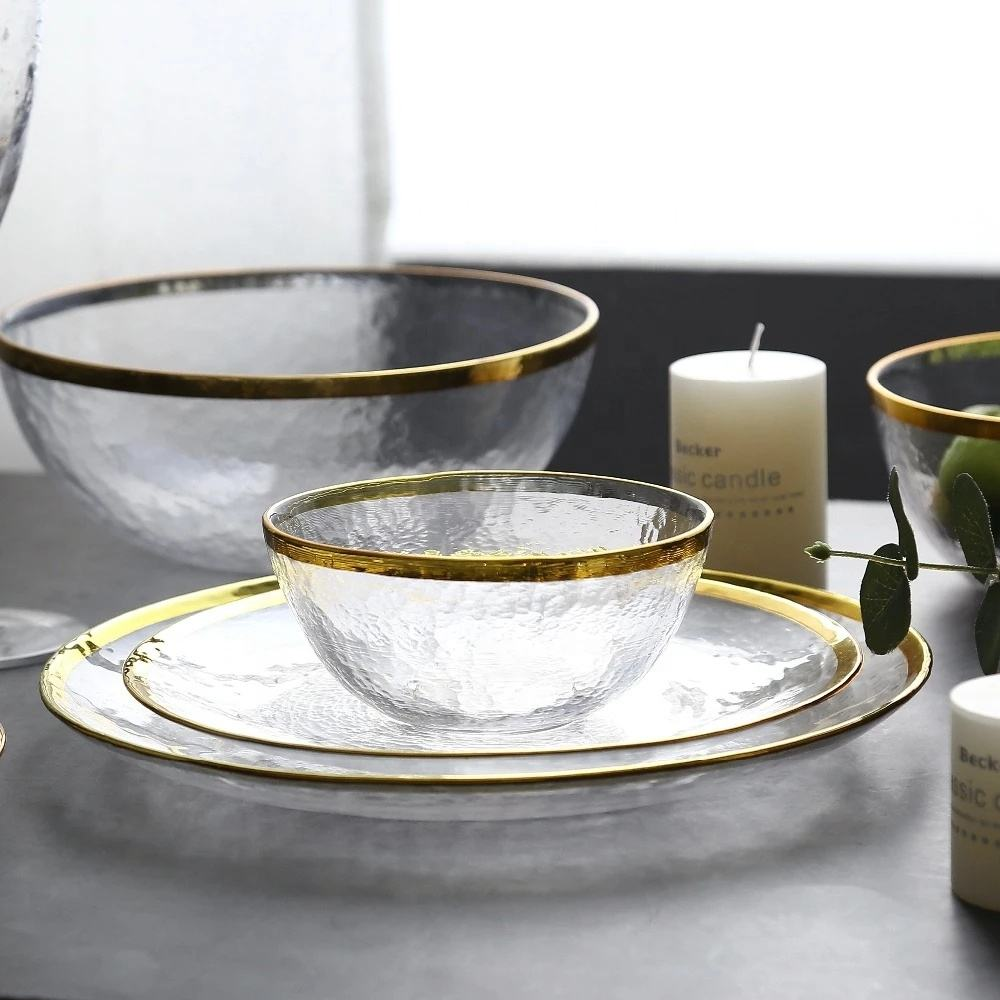 Clear Glass Gold Rim Tableware Charger Plate Transparent Glass Dinner Cake Food Dessert Plate Bowl Set