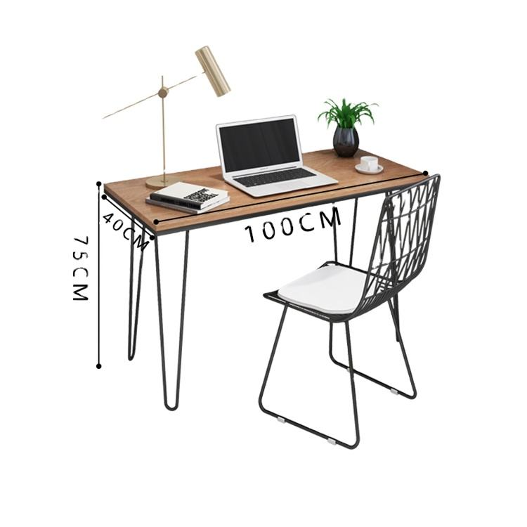 Rectangle particleboard Iron pipe bedroom laptop study furniture desk office