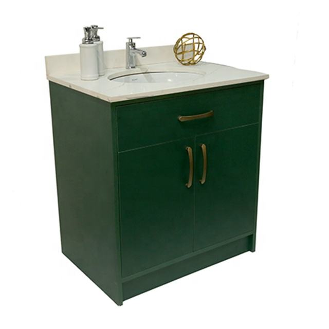 30 Inches Blue Color Bathroom Vanity Sink Vanity Contemporary and Minimalist Styled Vanity Bathroom Cabinet Wood