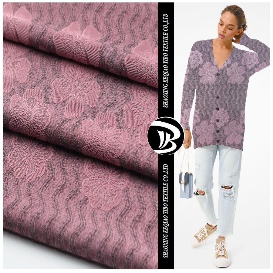 2020 new fashion knit glitter print polyester brocade fabric cationic jacquard for dress