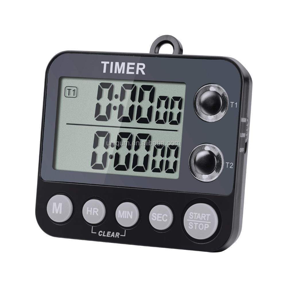 Digital Dual Kitchen Timer, Large Display 100 Hour Dual Count Up Down Timer Dual Channel Timer LED Light TM-009
