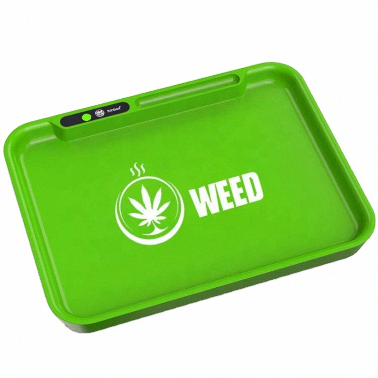Custom logo ABS LED rolling tray glow in the dark serving tray square rolling tray