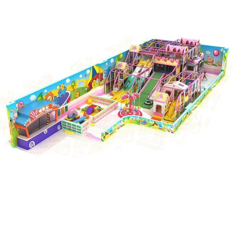 Colorful Theme kids Indoor Playground Indoor Playground Equipment with Donut Slide Role Play House