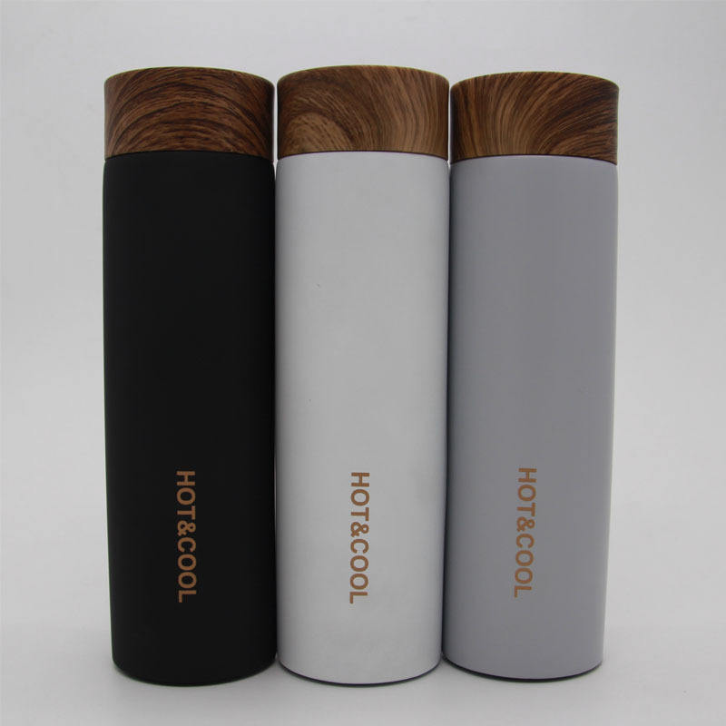 Stainless steel straight body mug Car gift vacuum insulated double wall office cup Wood grain cover customized water bottle