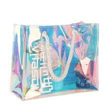 wholesale promotional customized logo recycled fashion shopping jelly hologram laser pvc plastic bag
