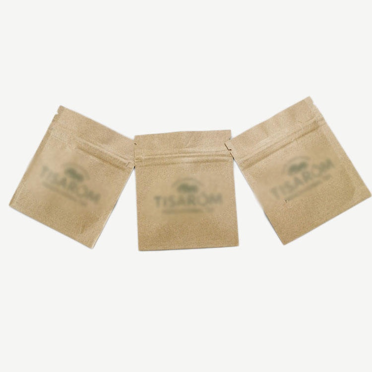 Wholesale Three Side Sealed Pouch Biodegradable Brown Kraft Paper Bag for Food Mini Powder Packet Tea/Food Packaging Sachet
