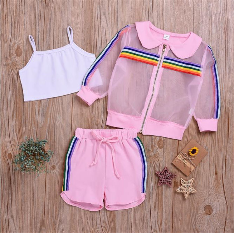 WHS06 Kid Girls Clothes Fashion Mesh T-shirt+Sport Pants Girls Outfits Tracksuit Kids Clothing For Girls 3pcs Sets