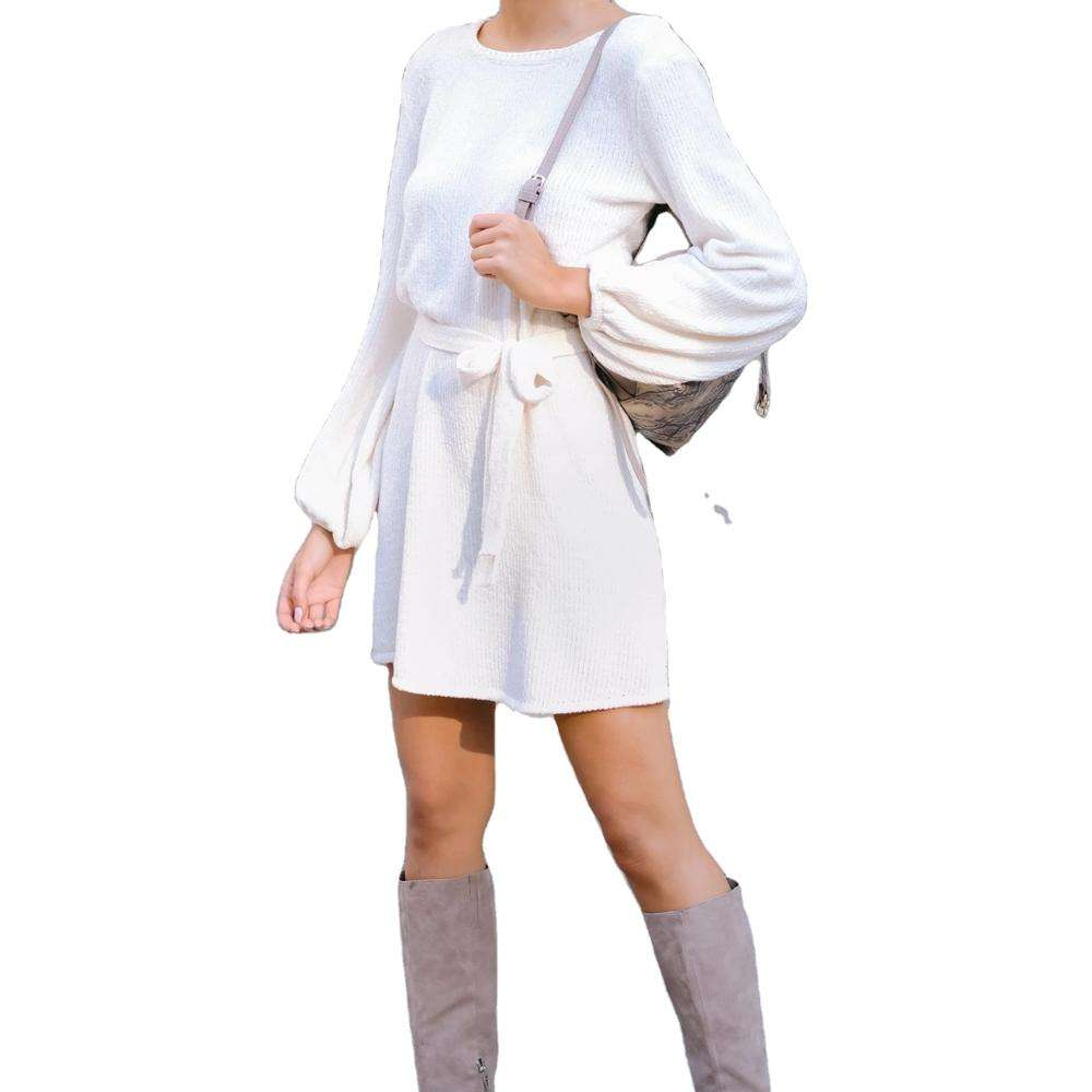 KingYoung ivory chenille sweater dress sweater dress tunic silhouette ribbed round neckline bishop sleeves tie belt