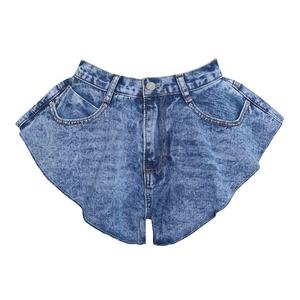 CHICEVER Sexy Ruffle Denim Shorts Female High Waist Pocket Wide Leg Short Trousers Women Fashion Clothes