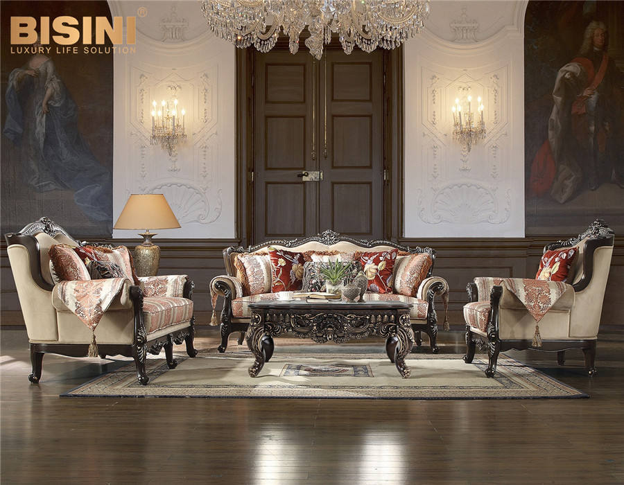 Interior Design Luxury Antique Palace Wooden Carved Baroque Mixed Fabric Sofa Set