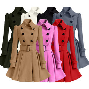 2020 Winter Women Stylish Thick Double-breasted Overcoat Ladies Woolen Coat With Belt