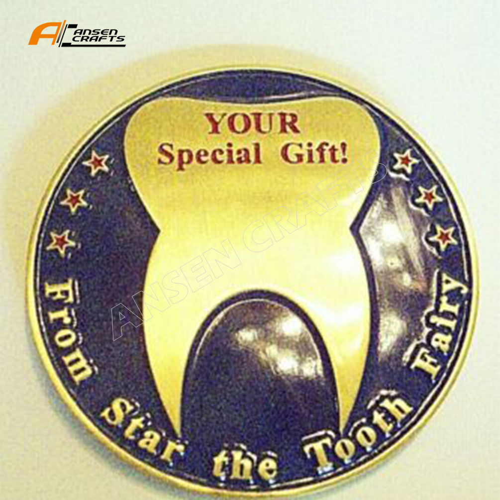 Commemorative Coin with Enamel with Gold for Children Gift Tooth Fairy Token