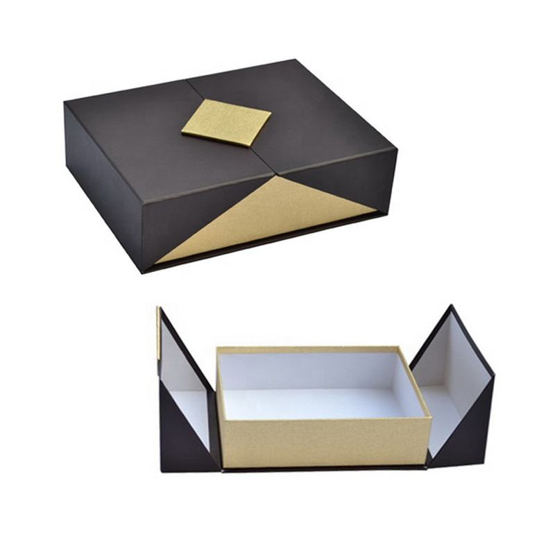 Black Double Door Gift Packaging Box With Magnetic Closure