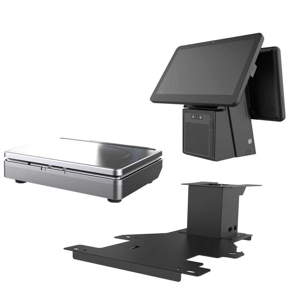 Windows i3 POS Weighing Scale Dual 15 inch Screen Retail Touch Screen POS Scale with Printer