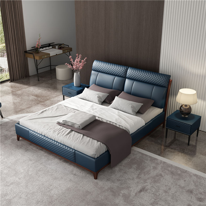 Nordic style low price bed with leather backrest solid wood frame structure storage boxes bedroom furniture for adults