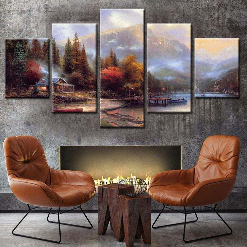 Art Black And White Landscape Contemporary Wall Decor Canvas Living Room Decoration Seven Print African Oil Painting
