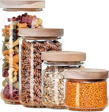 Glass Food Storage Container Set of 4 with Wooden Lid for Pasta