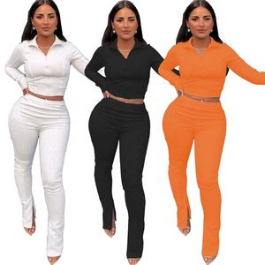 Ladies Long Sleeves Winter 2 Piece Outfits Joggers Women Fall Clothing Two Piece Sweat Suits Pants Set