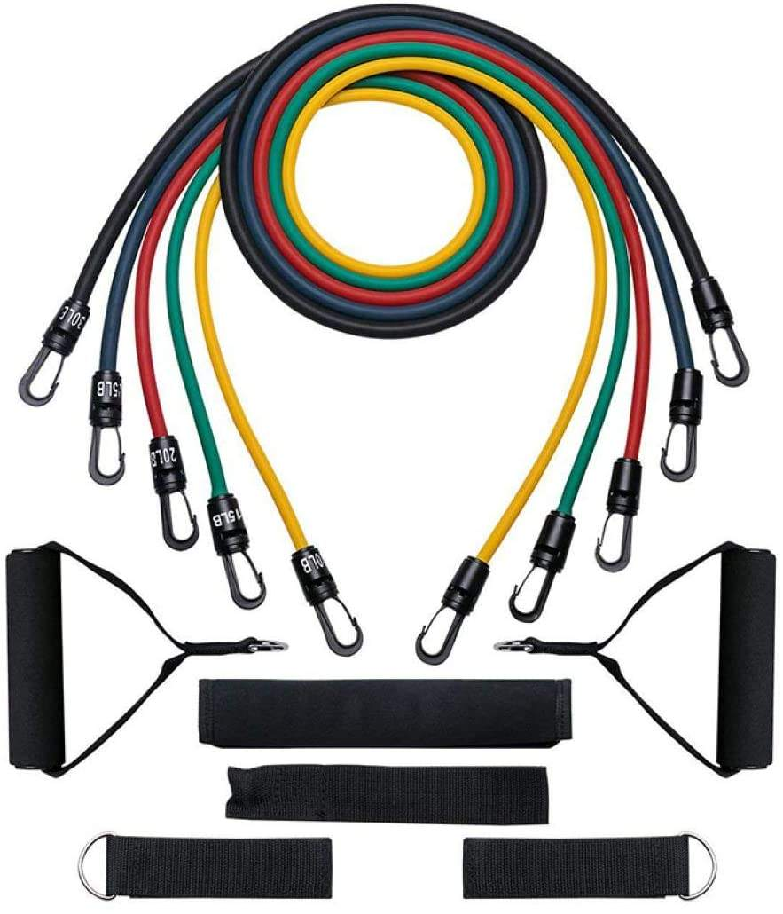 Amazon Hot Sale High Tenacity Custom Multi-Function Fitness 11 Piece Resistance Band Set