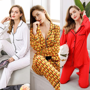 Kustom Musim Dingin Plain Viscose Jersey sleep wear Set Katun Kasual Homewear Wanita Grosir Piyama