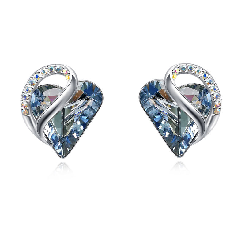 925 Sterling Silver Needle Heart Earrings Made with Austrian Crystals Birthstone Jewelry Gifts for Women