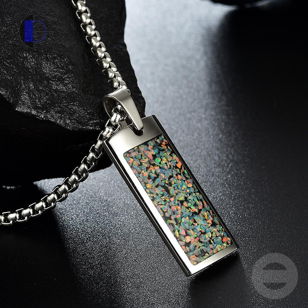 Gentdes Jewelry Hot Selling Opal Pendant Necklace Stainless Steel Chain