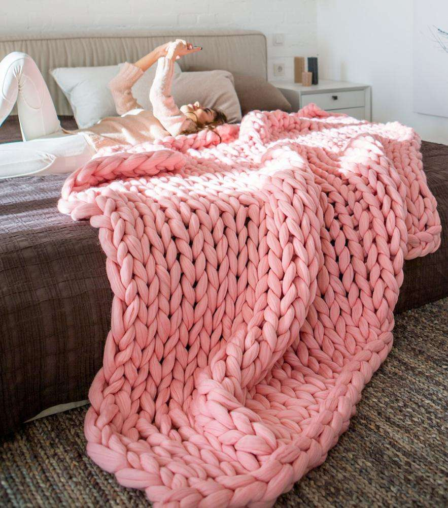 Hand Made Big Chunky Tencel Weighted Knitted Merino Wool Throw Blanket China For Winter