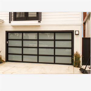 Automatic black 9*7 feet aluminum frame with tempered glass garage door ready to ship