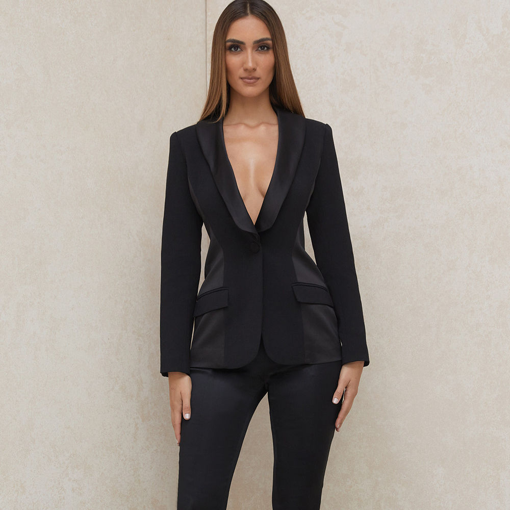 Black Tuxedo Suit 2 Pieces Latest Business Suit Styles for Ladies