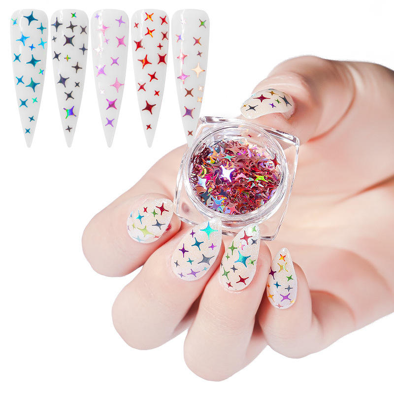 New Style 12 Colors DIY Nail Sequins Colorful Laser Tetragonal Star Glitter Phototherapy Nail Sequins
