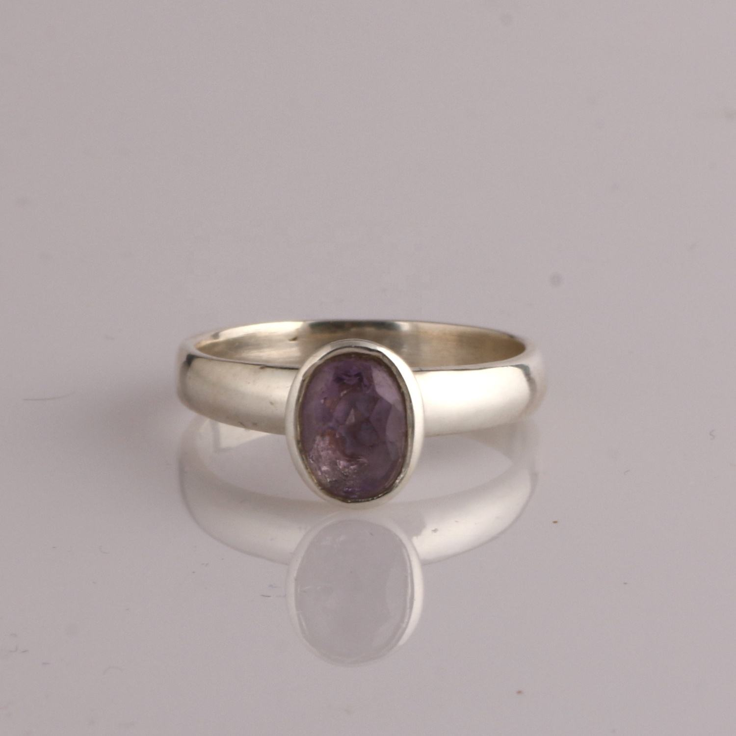 high quality 925 pure silver jewelry oval shape solitaire purple color amethyst gemstone ring for women