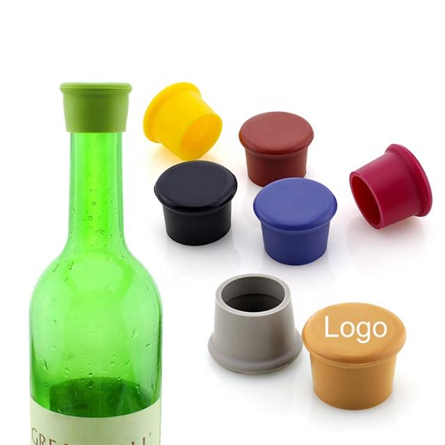 Customized logo bottle stopper safety reusable food grade silicone wine bottle stopper