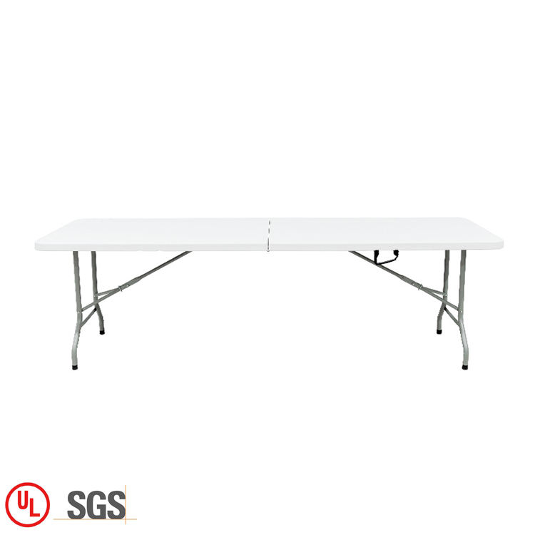 Durable Foldable 244CM 8FT Rectangle Plastic Folding In Half Table