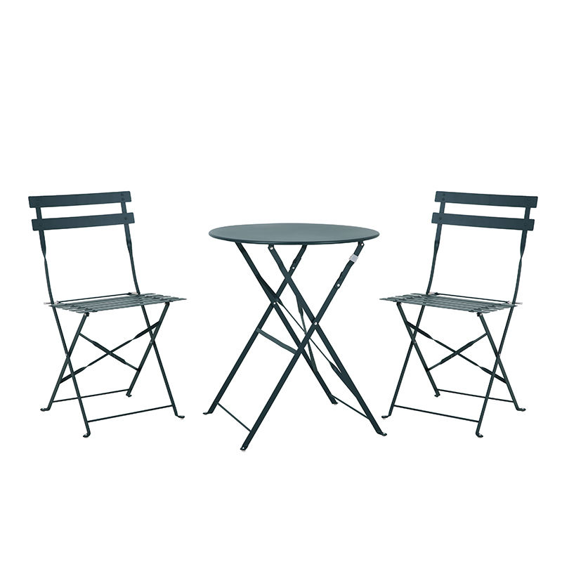 Outdoor 2 seats steel garden furniture table and folding chairs set for patio