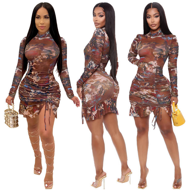 2021 Women Mini Sexy Dress Long Sleeve Clothes Women Bodycon Causal Ladies Party Spring Summer Dresses Clothing For Women