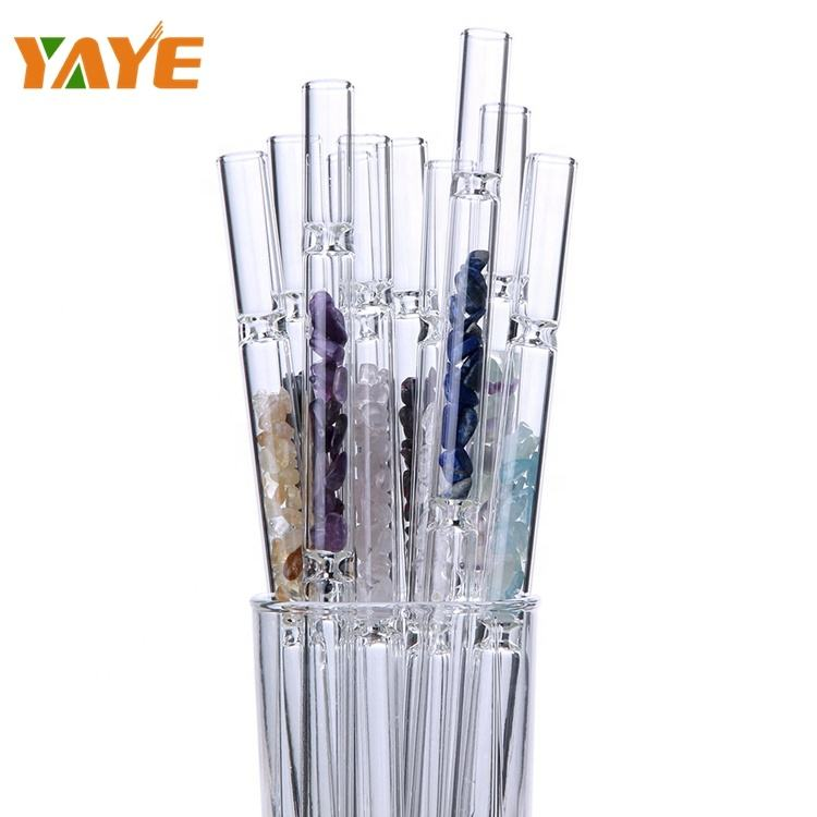 Wholesale Fashion Reusable Crystal Glass Straws with Tumbled Quartz