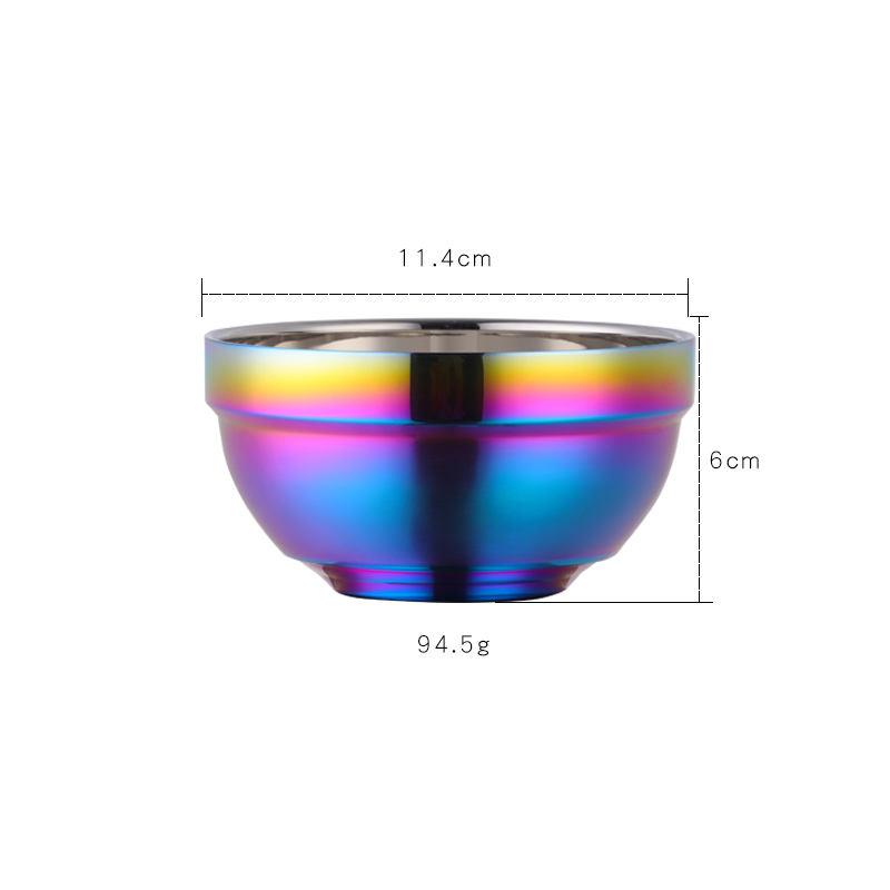 Popular Series Gold Plated Rainbow Stainless Steel Bowl for Daily Use