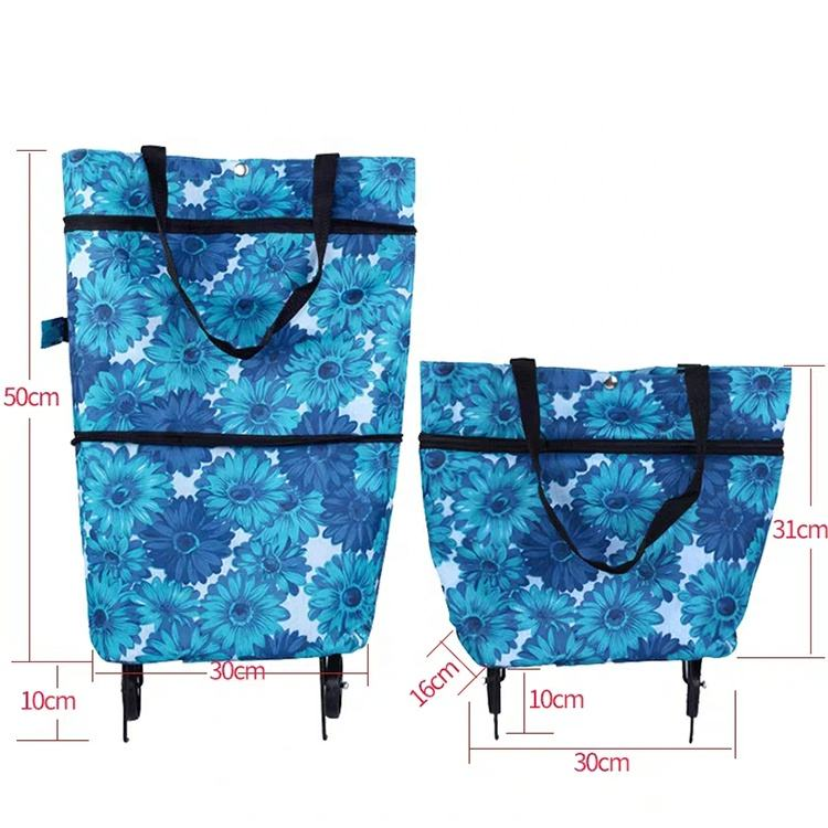 fashion portable folding waterproof shopping trolley bag with wheel