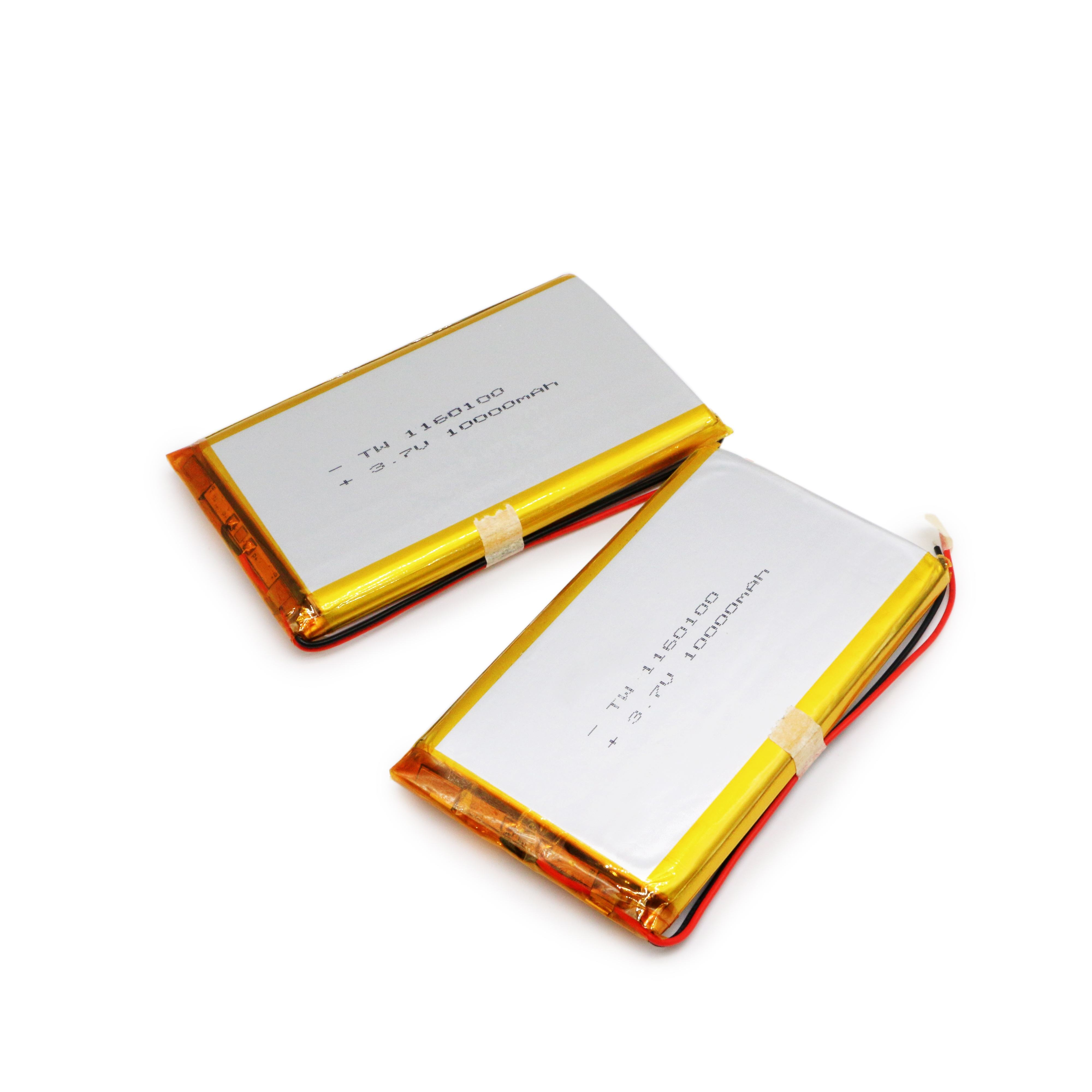 Hight capacity 1160100 3.7v 10000mah 10Ah Li-po Rechargeable Batteries for toys