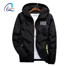 Reflective logo waterproof polyester plus size mens hooded black windbreaker jacket