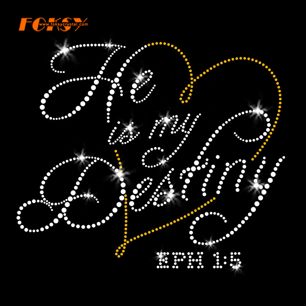 Letter He is My Destiny Clear Crystal Hot Fix Rhinestone Transfer for Wedding Party