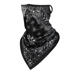 Fanni Factory Price Wholesale 3d Bandana UV Protective Neck Gaiter Paisley Face Scarf With Ear Loops