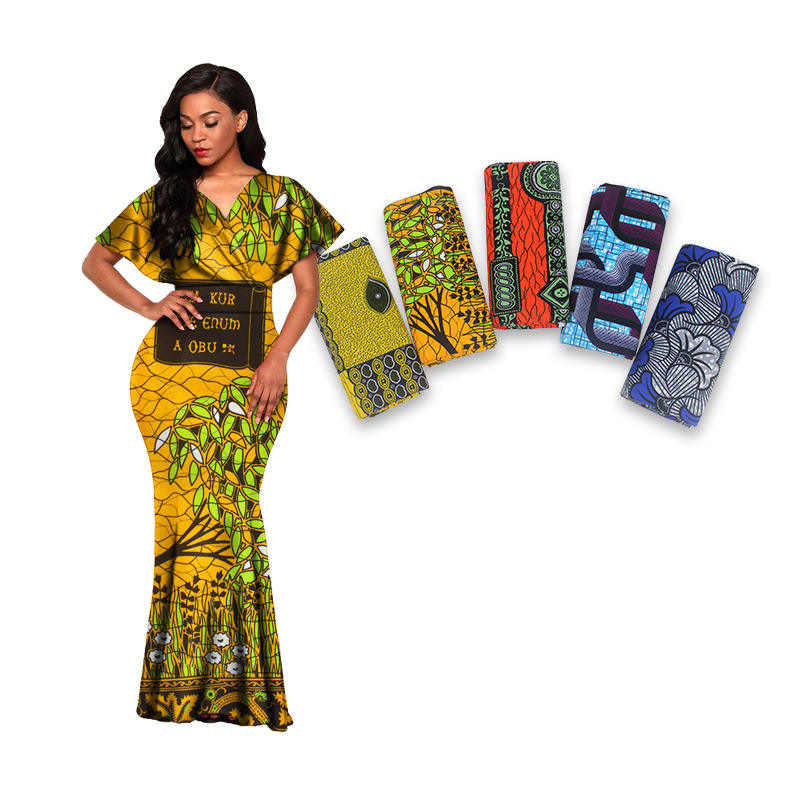 Wholesale African Cotton Ankara Print Clothing Material Real Wax Fabric Total 6 Yards Per Piece W191029