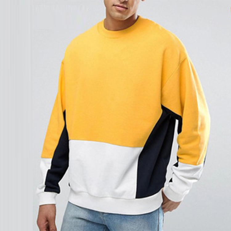 Oversized crewneck yellow and white Color Block Sweatshirt For Men